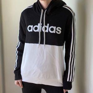 Adidas black and white fleece hoodie